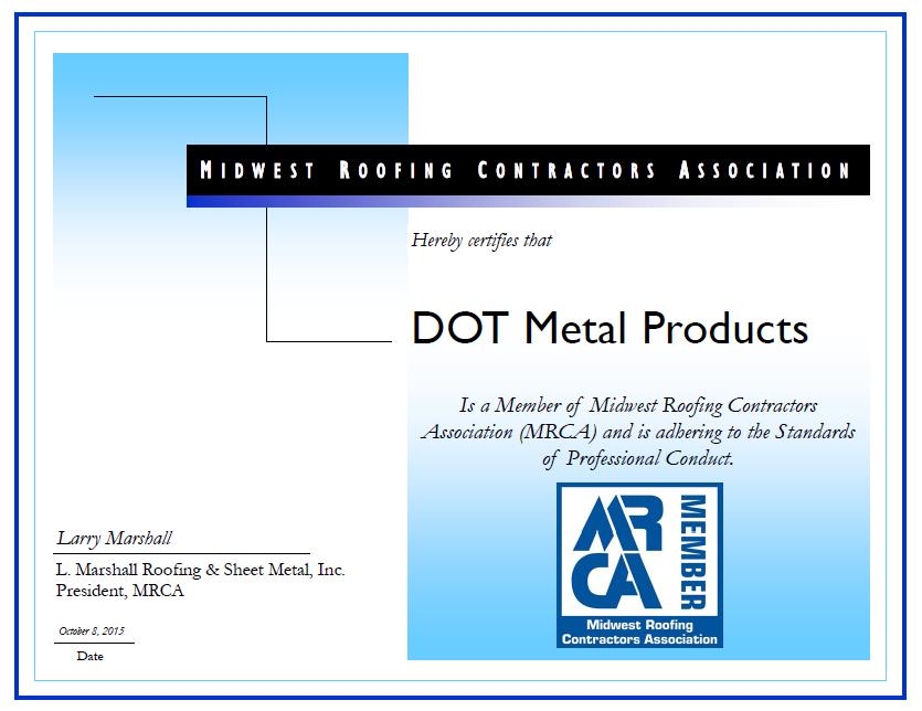 Dot Metals certificate